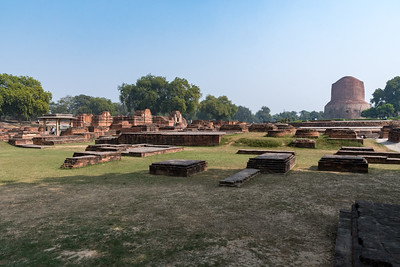 Sarnath (at Varanasi) - the remains of structures and stupa commemorating the site of Buddha's first sermon.