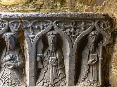 Fine carving on a stone casket/crypt inside Jerpoint Abbey.