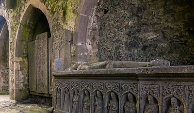 Intricate carving on the stone coffins inside the abbey.
