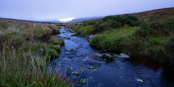 Tributary to the River Liffey high up near Sally Gap, on a cool, rainy day of arrival in Ireland.