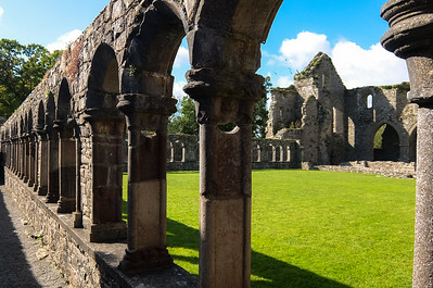 The restore colonade of the cloister at Jerpoint Abbey. You can see the original stone compared to the (sometimes not very elegant) restoration from the 1950s.