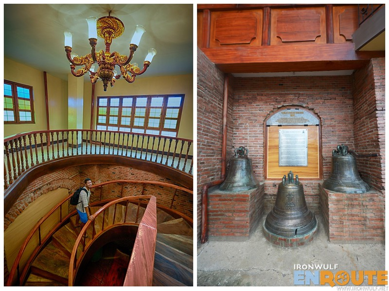 The staircase and the vintage bells at the Old Spanish Convent