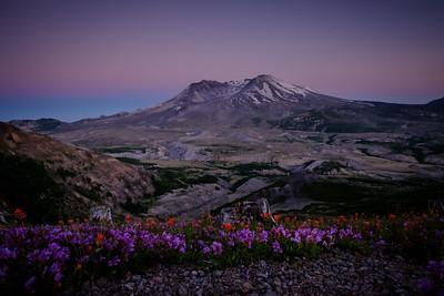Mt St Helens Setting Sun