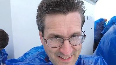 "David at Niagara's Horseshoe Falls, from the ""Maid of the Mist""."