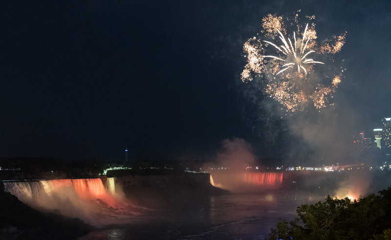 Fireworks over Niagara Falls, from Rainbow Bridge across the Niagara River, close to the Canadian shore.