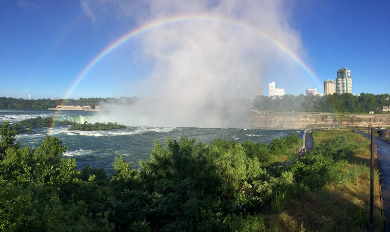 A morning rainbow at Niagara's Horshoe Falls.