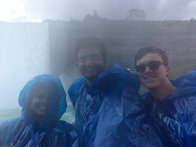 Aarathi, Varun, and Taylor at Niagara's Horseshoe Falls.
