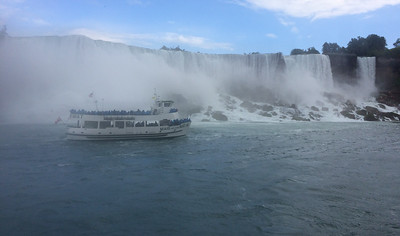 The Maid of the Mist passes Niagara's American Falls.
