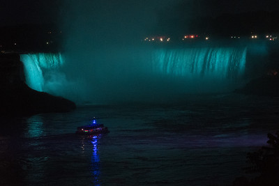 Niagara's American Falls from the Canadian side of the river, at night.