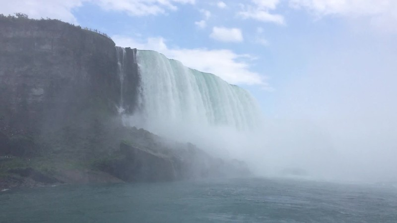 "Niagara's Horseshoe Falls, from the ""Maid of the Mist"", ending with shot of Taylor Hardin."