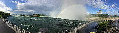 A panoramic (and distorted) view of Niagara's Horseshoe Falls in early morning.