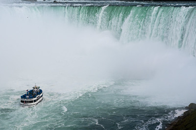 "The ""Maid of the Mist"" approaches Niagara's Horseshoe Falls, as viewed from the Canadian side."