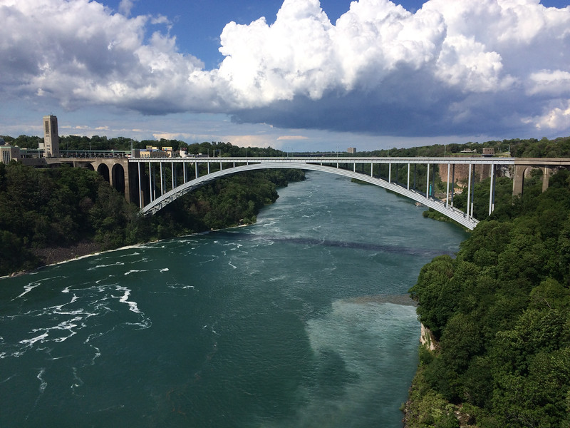The bridge from Canada (left) to US (right), viewed from Niagara Falls.