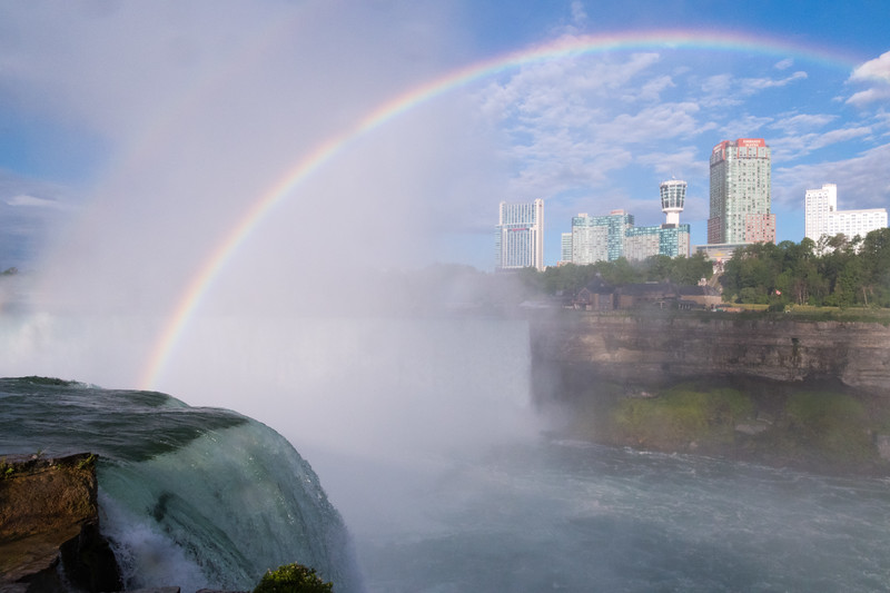 A rainbow over Niagara's Horseshoe Falls in early morning.