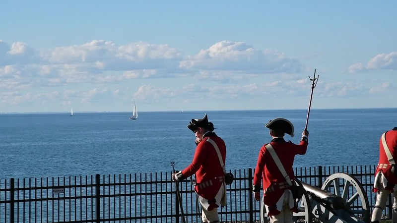 Demonstration of cannon firing at Fort Niagara.