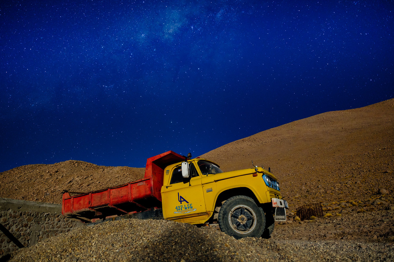Old Truck Under the Milky Way in Bolivia