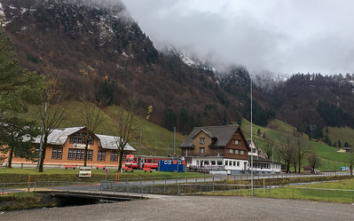 Wasserauen train station and, indeed, pretty much the whole village.  Note the fresh snow on the hills above town.