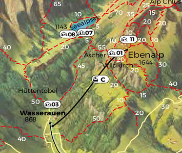 Zoomed version of Hiking map of the Alpenzeller region, to focus on Wasserauen and Seealpsee.