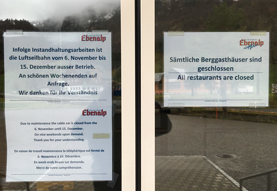 Too late!  The Ebenalp tram is closed - as are all the restaurants in the valley.