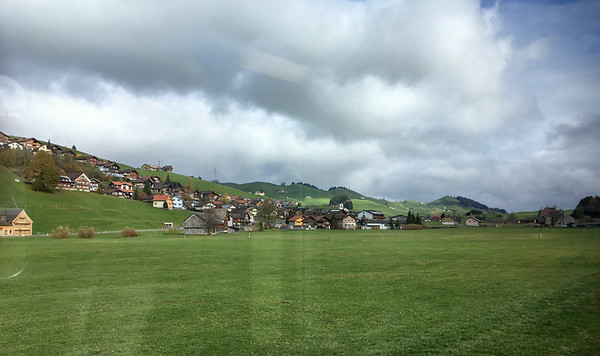 Pretty views from the train window as we pass through small villages in the Appenzeller valley.