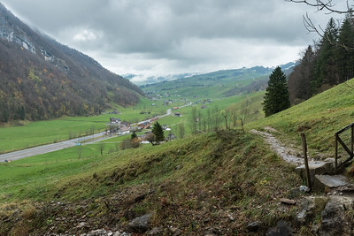 Looking back at the valley and the tiny village of Wasserauen.