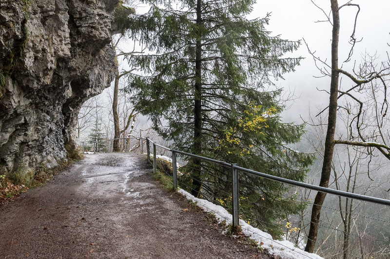 The road down from Seealpsee to Wasserauen is carved out of a steep hillside.
