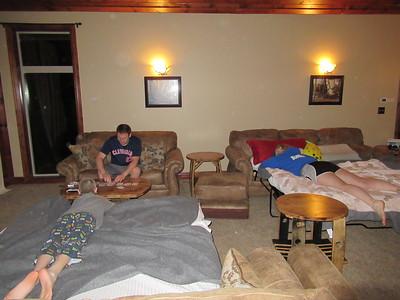 Matt watching Jake play solitaire while Reva relaxes.