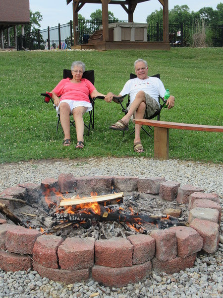Dad and Beverly enjoying the fire.