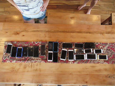 Everyone's cell phones on the table!!!!!