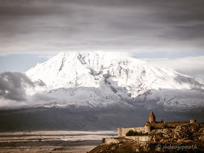 Khor Virap Monastery against Mt Ararat