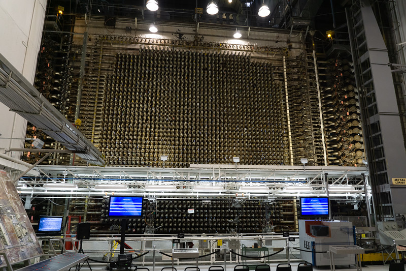 """B Reactor operation was a batch process. It was loaded from this side (the """"face"""") with cylindrical uranium """"slugs."""""""