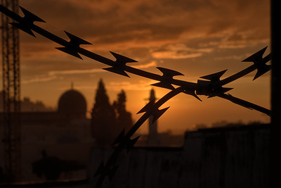Razorwire at sunrise. Jerusalem. Nov 2018. Photo by Weldon Weaver.