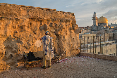 Jewish Morning Prayer Preparation. Jerusalem. Nov 2018. Photo by Weldon Weaver.