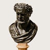 "Bust of Heraclitus<br /> <br /> From Herculaneum<br /> <br /> Archaeological Museum of Naples<br /> <br /> Heraclitus was a pre-Socratic philosopher (6th century BC) whose ideas about change and who went beyond physical theories in search for the metaphysics of being.<br /> <br /> According to Plato, ""Heraclitus, I believe, says that all things go and nothing stays, and comparing existents to the flow of a river, he says you could not step twice into the same river"" (Cratylus 402a = DK22A6).<br /> <br /> On the other hand, the actual remark attributed to him is<br /> <br /> On those stepping into rivers staying the same other and other waters flow. (DK22B12)<br /> <br /> which seems to suggest that the river is the same because water flows in it.<br /> <br /> The fragmentary quotes and second-hand (or more remote) accounts of his thought and life have resulted in about Heraclitus.  This webpage <br /> <br /> <a href=""https://www.iep.utm.edu/heraclit/"">https://www.iep.utm.edu/heraclit/</a><br /> <br /> discusses his thought and provides a number of references that discuss the life and thoughts of Heraclitus.<br /> <br /> <br /> Whatever, it is hard to fit these deep and mysterious thoughts with a person owning this genial face."