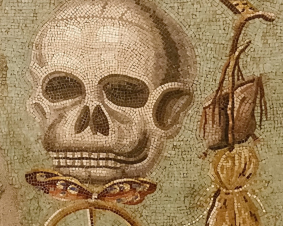 Detail from a Pompeii mosaic shown in the Archaeological Museum of Naples.