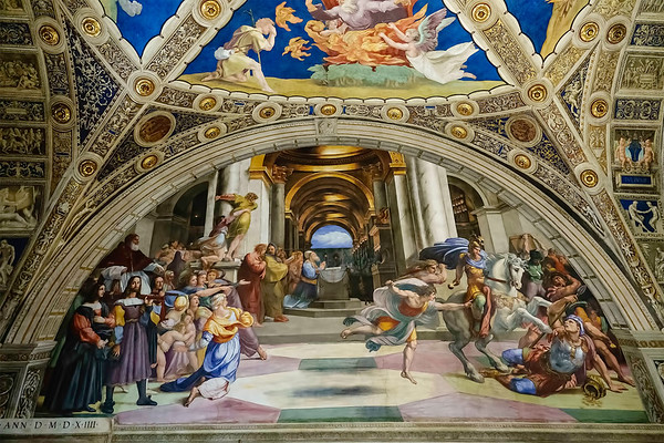 The Expulsion of Heliodorus from the Temple<br /> <br /> Fresco<br /> <br /> Raphael Rooms, Vatican Museum<br /> <br /> Vatican City