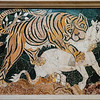 """""""Tigeress Attacking a Calf"""" is a mosaic of multicolor marbles [opus sectile]. It was made in the 2nd quarter of the 4th century AD and was from a wall in the Basilica of Junius Bass on the Esquiline Hill of Rome."""