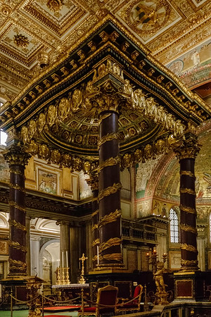 Church of Santa Maria Maggiore, the high altar at the end of the nave.