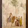 Fresco from Pompeii<br /> <br /> Europa seated on a bull (Zeus in disguise) which is feted and entertained by her companions before her carries her off to Crete where she will bear Minos, Radamanthus and Sarpedon.<br /> <br /> Archaeological Museum of Naples<br /> <br /> Naples, Italy
