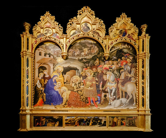 Adoration of the Magi. Christ in Judgement, the Annunciation and Prophets, (in the pinnacles). The Nativity, the Flight into Egypt adn the Presentation in the Temple (in the predella) <br /> <br /> Tempera on wood<br /> <br /> Gentile Da Fabriano c 1370 - 1427<br /> <br /> Uffizi Gallery<br /> <br /> Florence, Italy