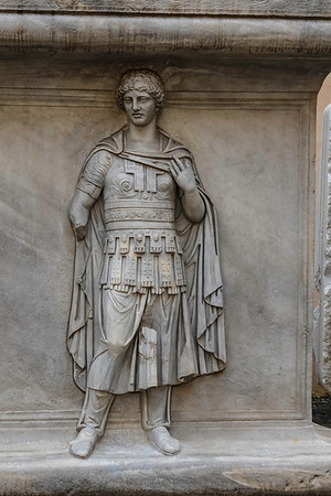This is one of two bas-reliefs of barbarian prisoners in the courtyard of the Capitoline Museums.<br /> <br /> They were purchased for the Capitoline Museums by Pope Clement XI (1700-1721).