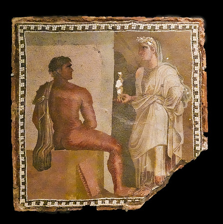 This mosaic showing Orestes and Iphigenia was the centerpiece of  a larger mosaic floor. it was found in the Horti Maccenatiani, gardens on the Esquiline. It is from the 2nd to 3rd centuries AD.