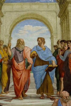 Leonardo Da Vinci in the guise of Plato and Aristotle from The School of Athens<br /> <br /> Fresco from the Raphael rooms, Vatican Museums<br /> <br /> Rome, Italy