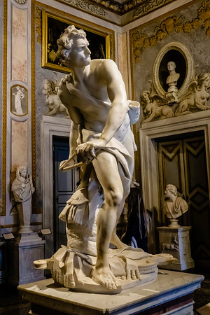 David (1623-1624) by Gian Lorenzo Bernini (1598-1680)<br /> <br /> This photo gives you an impression of how crammed with great art the Borghese Gallery is.