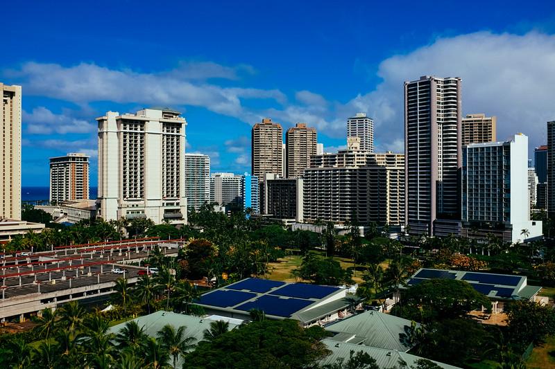 View from Hotel Window of Waikiki Beach precint.