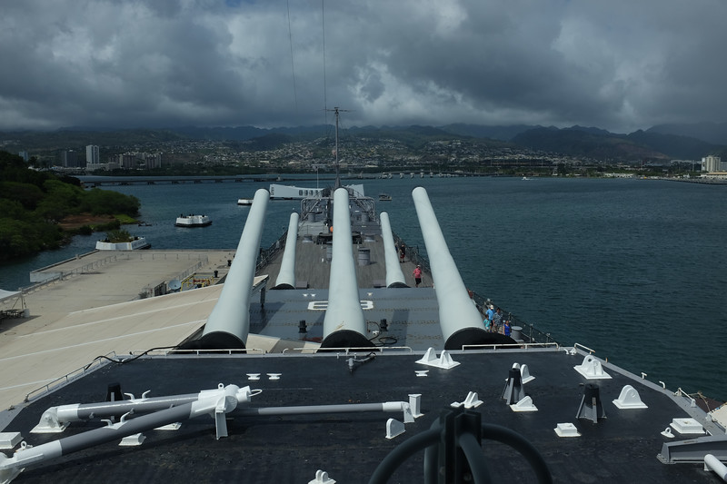 Uss Missouri, Pearl Harbour. View from the bridge.