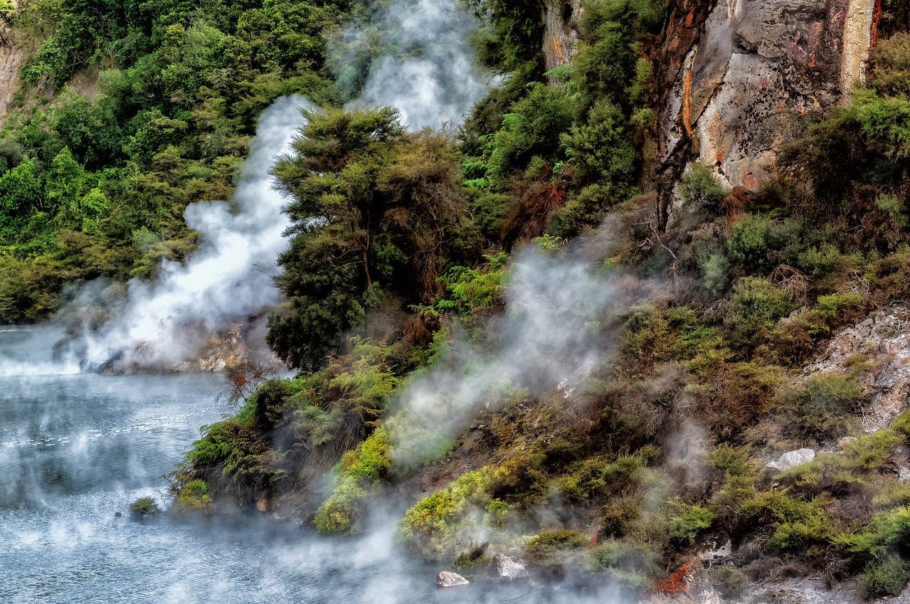 """2018-03-15 """"Frying Pan Lake"""".  Lake is composed of hot acid. Waimangu Volcanic Valley, SE of Rotorua, New Zealand.  The area has a strong smell of sulfur. Coords: 38°16'60"""" S 176°23'49"""" E"""