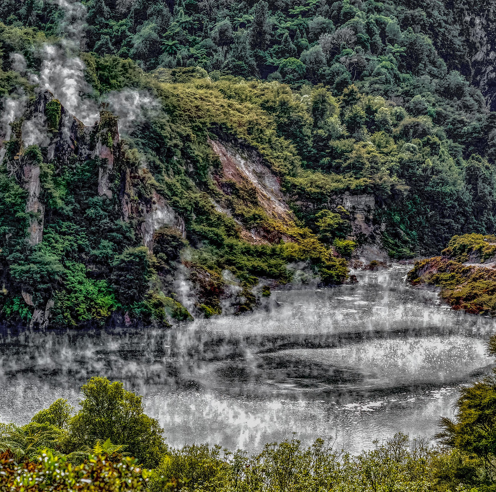 """2018-03-15 Lake is composed of hot acid. Waimangu Volcanic Valley, SE of Rotorua, New Zealand.  The area has a strong smell of sulfur. Coords: 38°16'59"""" S 176°23'59"""" E"""
