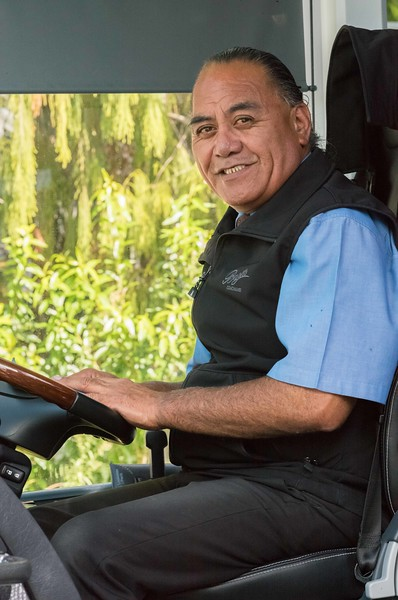 2018-03-16 Ben, our first bus driver in New Zealand.  He had a lot of charming stories which connected well with tour participants.