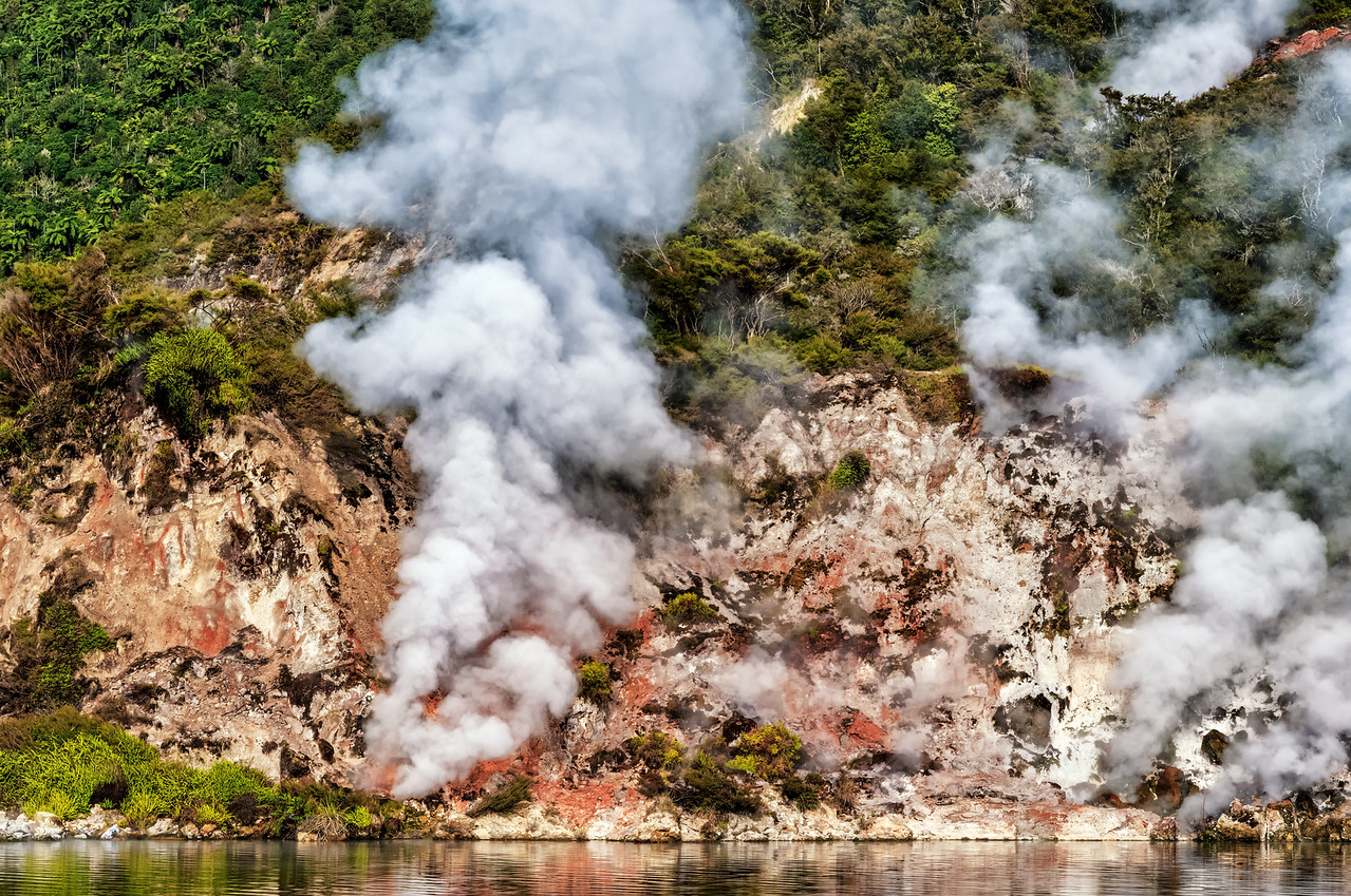 """2018-03-15 View of steam from Lake Rotomahana, coords: 38°16'4"""" S 176°25'15"""" E. SE of Rotorua, New Zealand."""